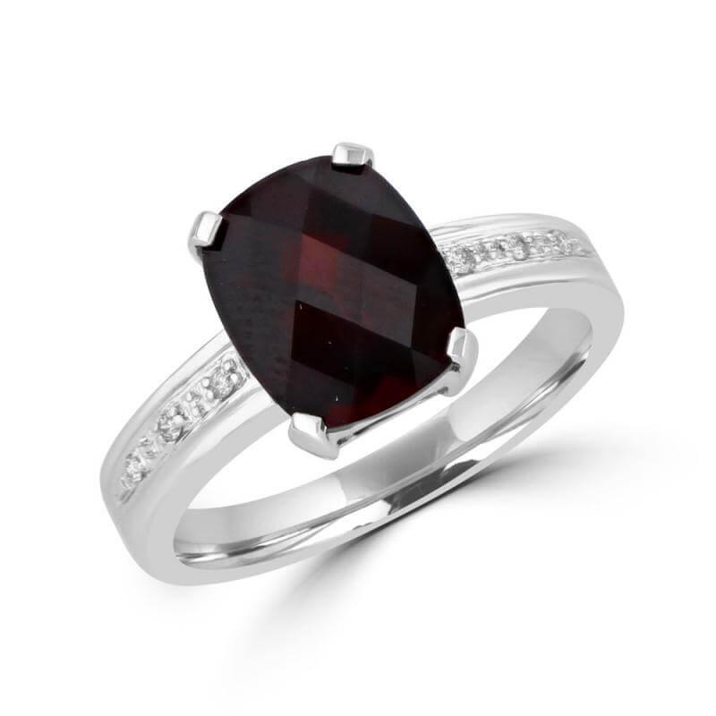 8X10 CUSHION CHECKERED GARNET AND DIAMOND RING