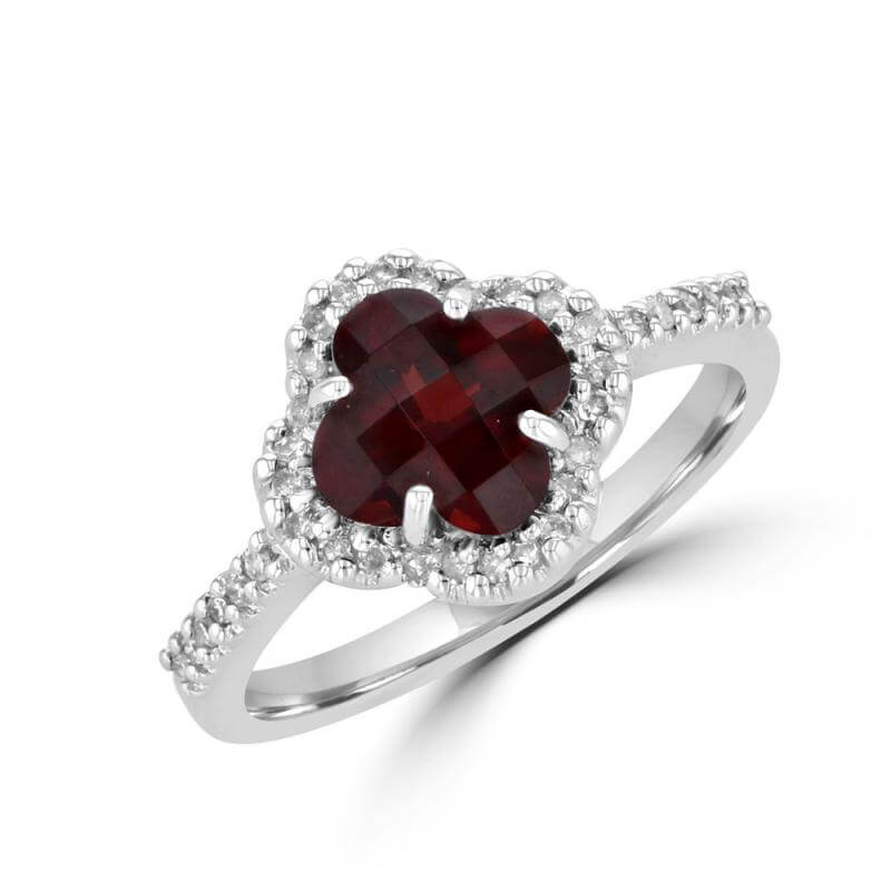8MM LILY GARNET SURROUNDED BY DIAMONDS RING