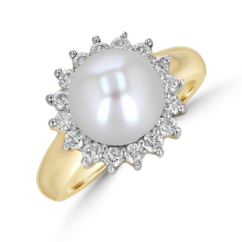 9.5-10mm PEARL SURR BY DIA RING (LARGE)