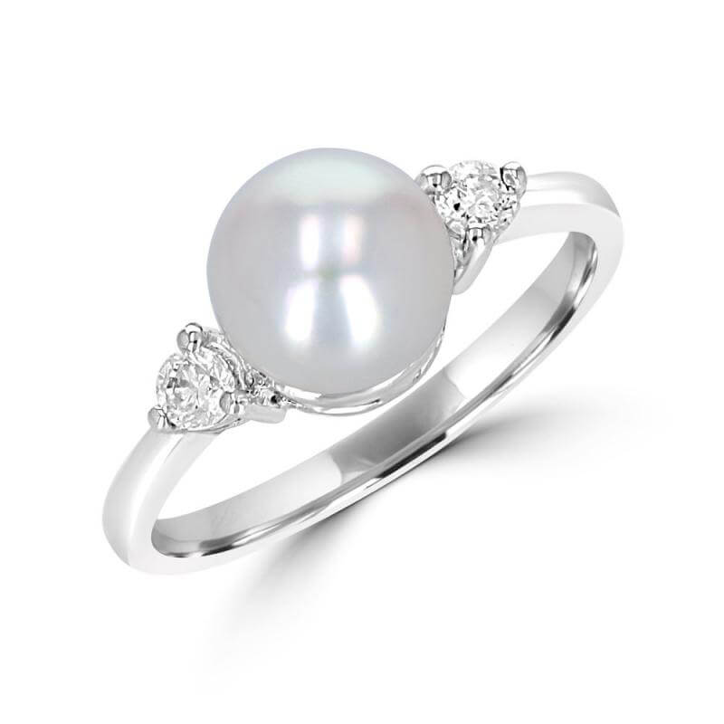 7-7.5MM FRESHWATER PEARL & ONE DIAMOND EACH SIDE RING