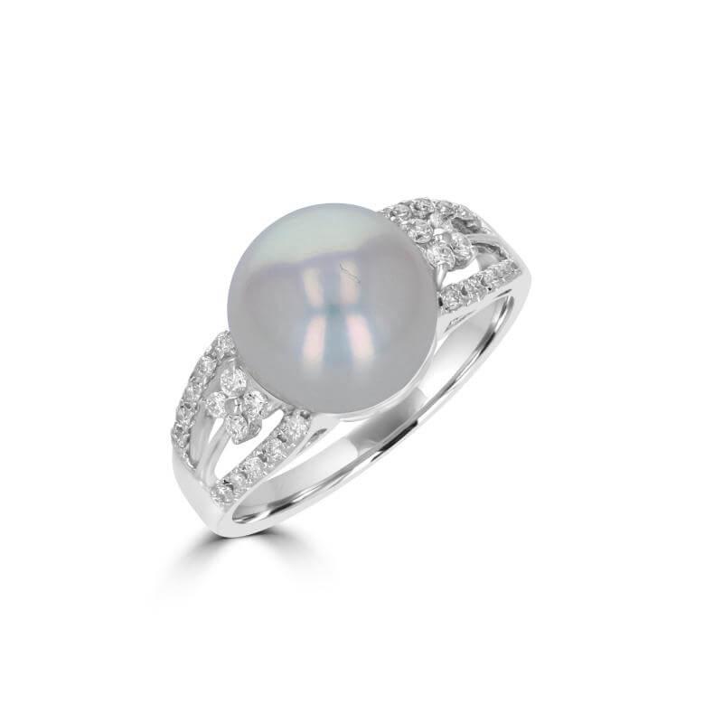 10-10.5MM FRESHWATER PEARL & DIAMOND RING