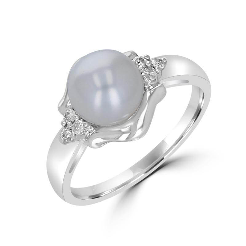 7.5-8MM FRESHWATER PEARL AND THREE DIAMOND EACH SIDE RING