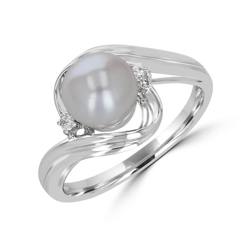PEARL & ONE DIAMOND EACH SIDE RING