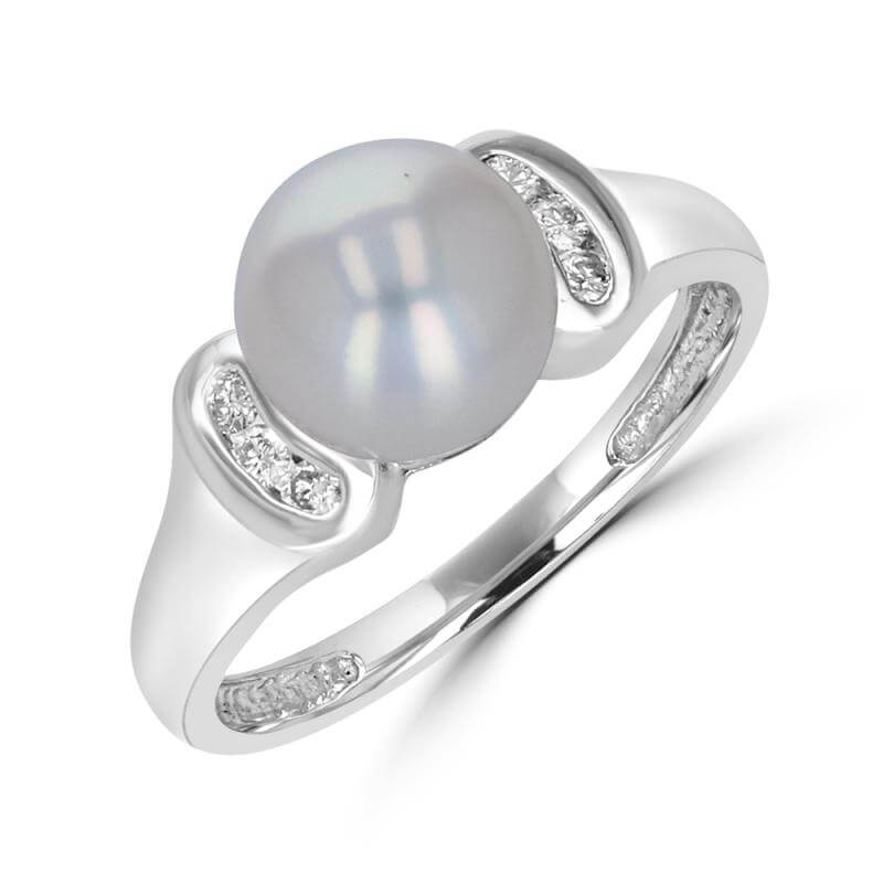 8-8.2MM FRESHWATER PEARL AND DIAMOND RING