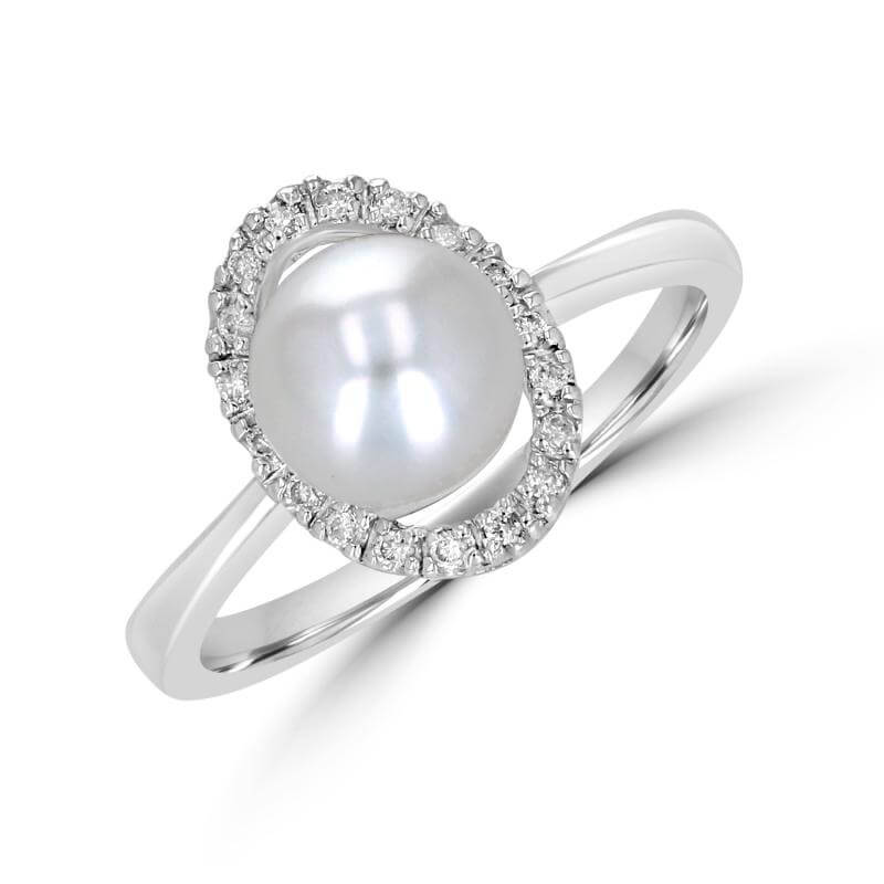 7-7.5MM FRESHWATER PEARL AND DIAMOND RING