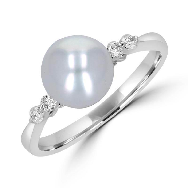7.5-8MM FRESHWATER PEARL & DIAMOND RING