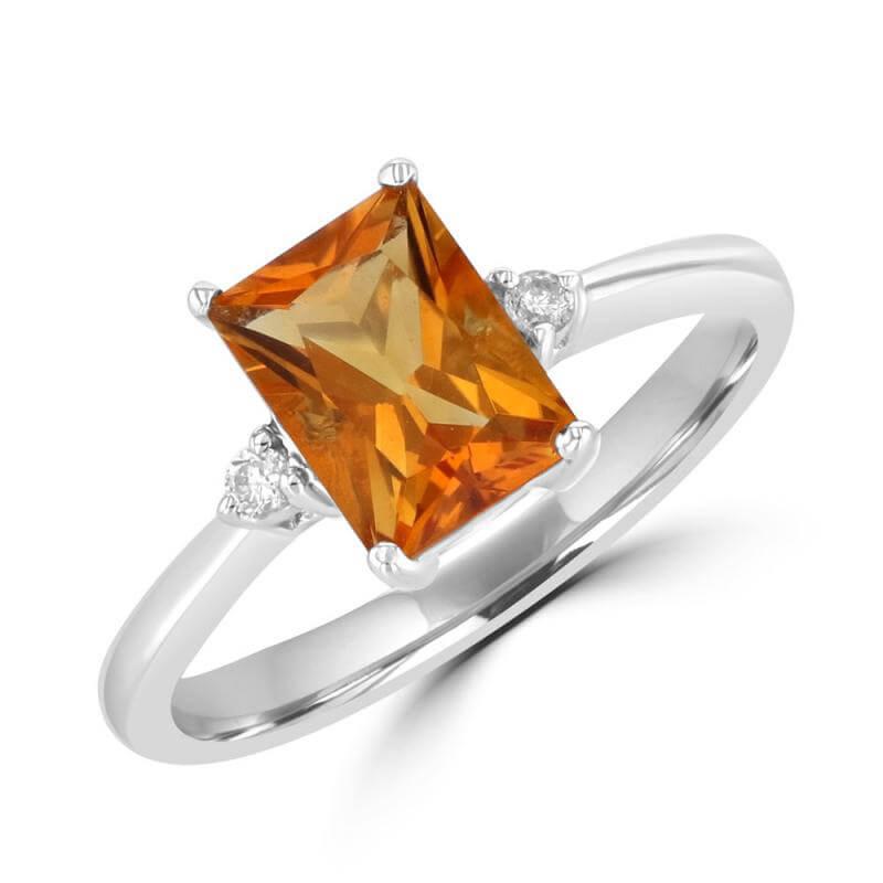 6X8 FANCY BAGUETTE CITRINE & ONE DIAMOND EACH SIDE RING
