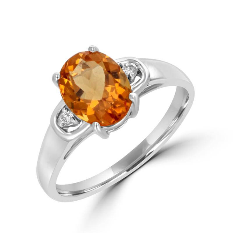 7X9MM OVAL CITRINE WITH ONE DIAMOND EACH SIDE RING