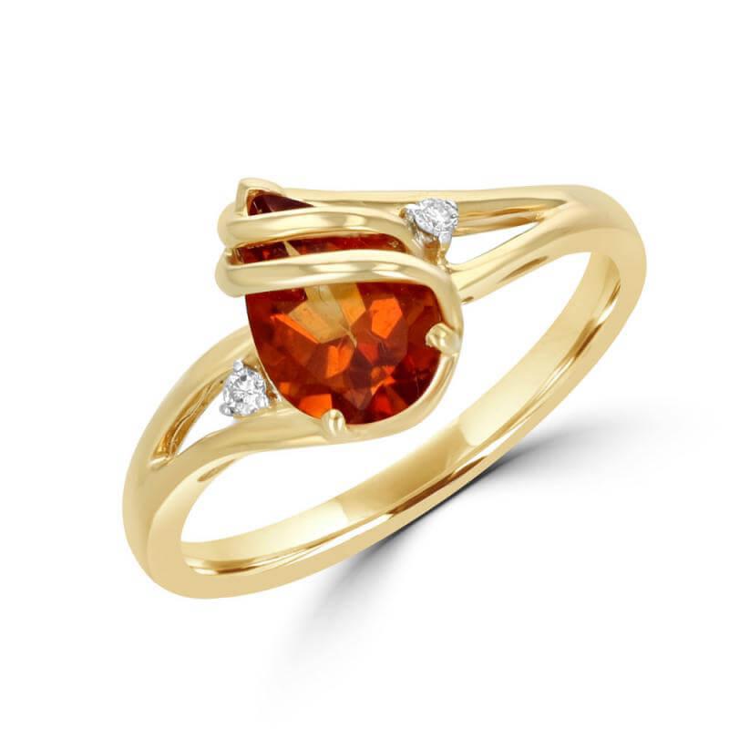 PEAR CITRINE & ONE DIAMOND EACH SIDE RING