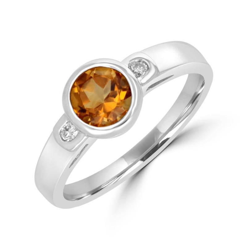 ROUND CITRINE & ROUND DIAMOND BEZEL RING