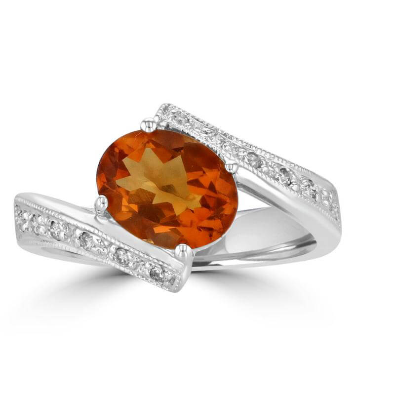 7X9 OVAL CITRINE & DIAMOND RING