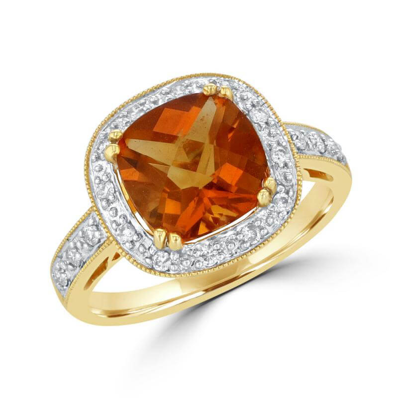 8MM CUSHION CITRINE SURROUNDED BY DIAMONDS RING