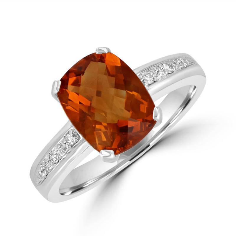 8X10 CUSHION CHECKERED CITRINE AND DIAMOND RING
