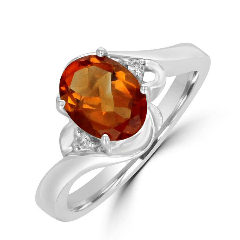 7X9 OVAL CITRINE AND ROUND DIAMOND EACH SIDE RING