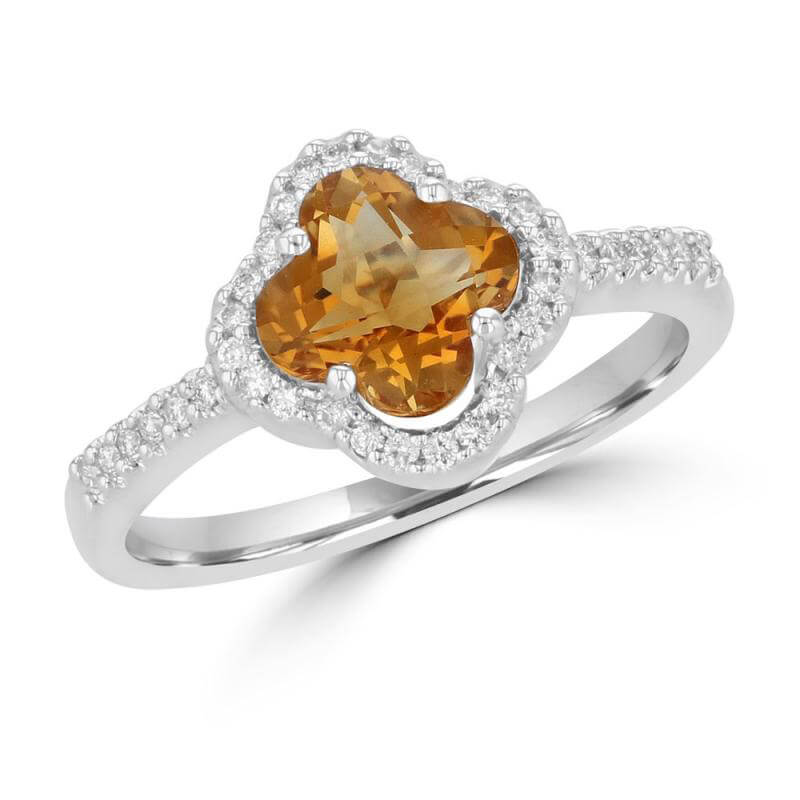 8MM LILY CITRINE SURROUNDED BY DIAMONDS RING