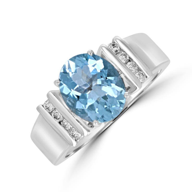 OVAL AQUAMARINE & ROUND DIAMOND CHANNEL RING