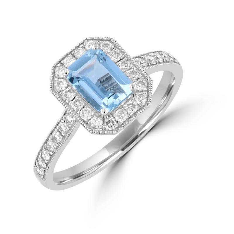 5X7 EMERALD CUT AQUAMARINE & ROUND DIAMOND RING