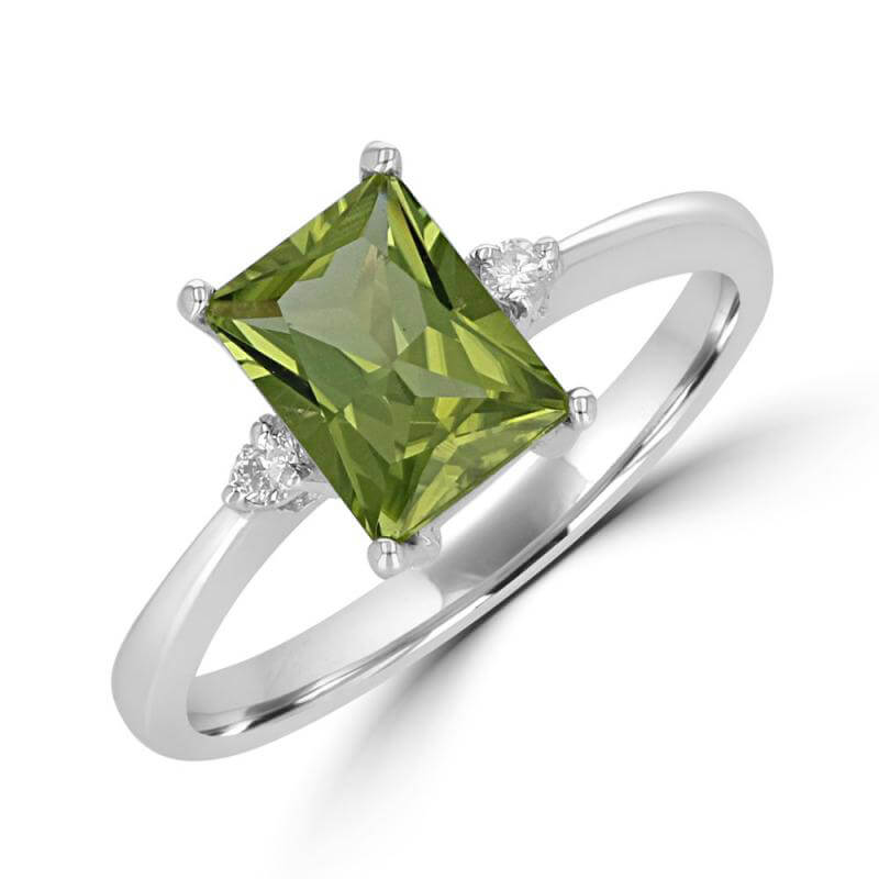 6X8 FANCY BAGUETTE PERIDOT AND ONE DIAMOND ON EACH SIDE RING