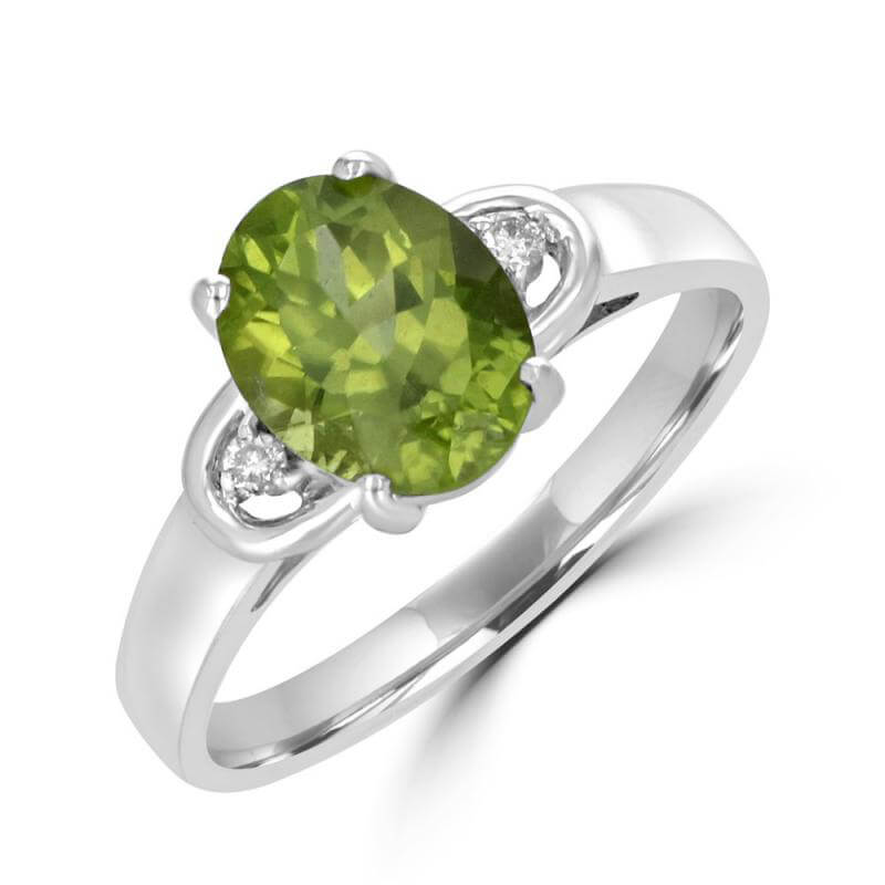 7X9 OVAL PERIDOT AND DIAMOND ON EACH SIDE RING