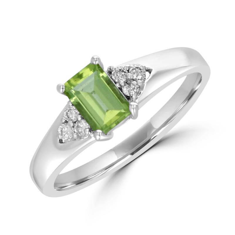 JCX391705: 4X6 BAGUETTE PERIDOT & 3 ROUND DIAMOND EACH SIDE RING