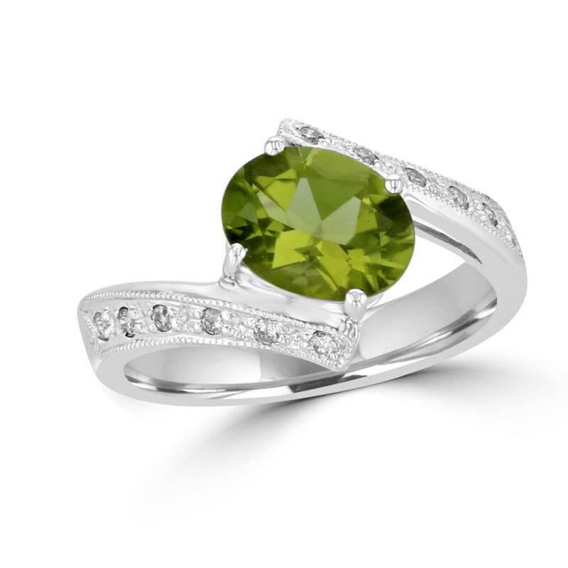 7X9 OVAL PERIDOT & DIAMOND RING