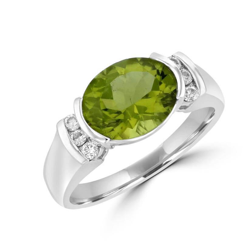 OVAL PERIDOT & ROUND CHANNEL DIAMOND RING