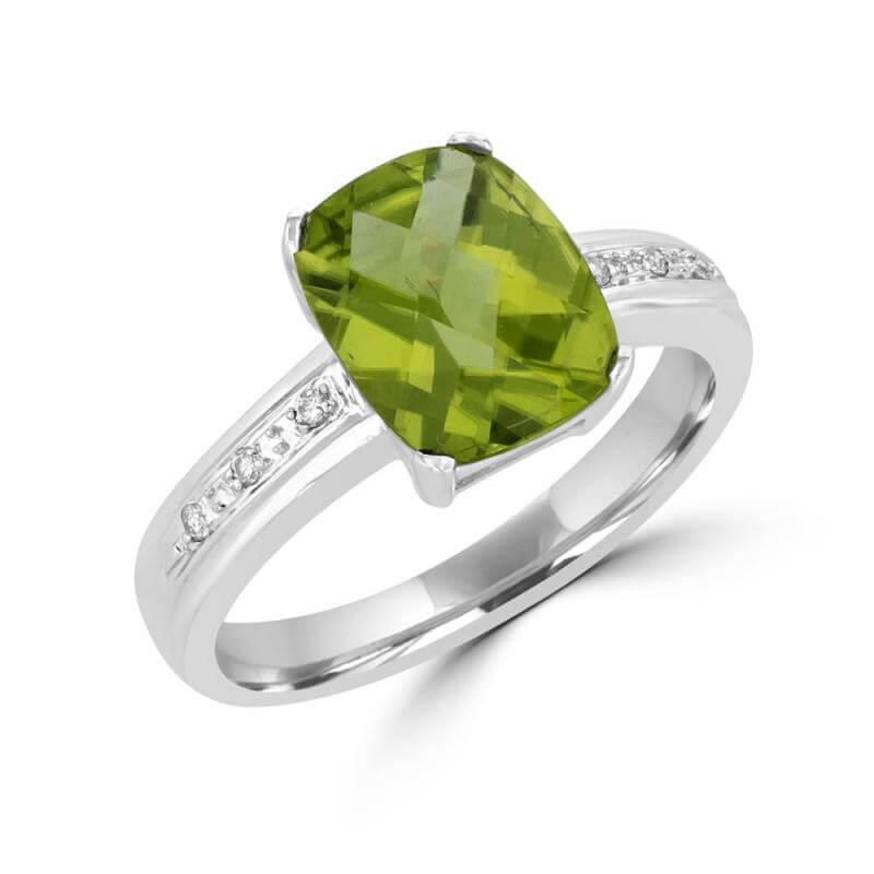 8X10 CUSHION CHECKER PERIDOT & DIAMOND RING