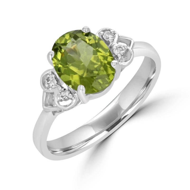 JCX391720: 7X9 OVAL PERIDOT & TWO DIAMONDS EACH SIDE RING