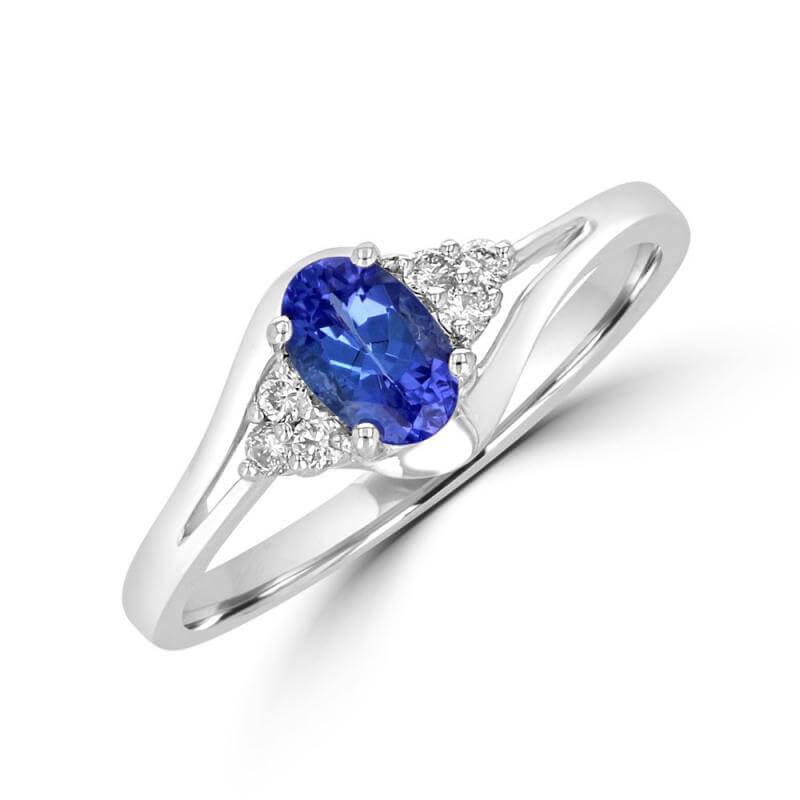 JCX391726: 4X6 OVAL TANZANITE 3 DIAMOND EACH SIDE RING