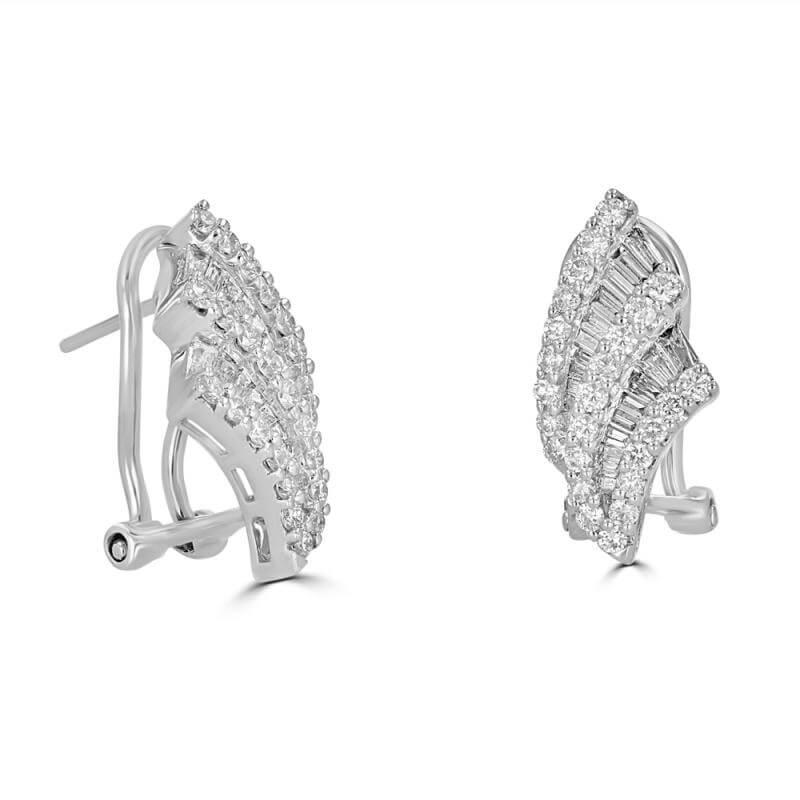 BAGU & RND DIAMOND EARRINGS