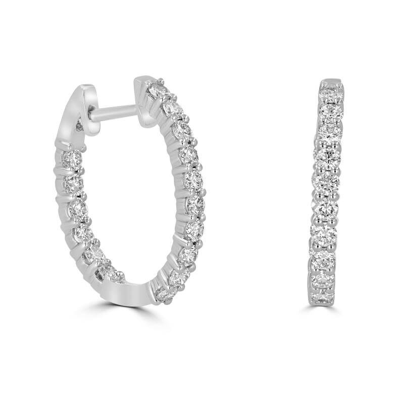 16X18MM OVAL SHAPE ROUND DIAMOND IN/OUT EARRINGS