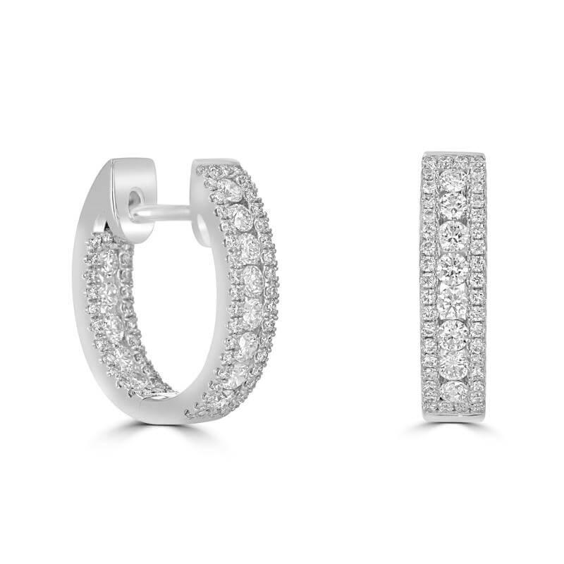 ROUND DIAMOND PRONG HOOP EARRINGS