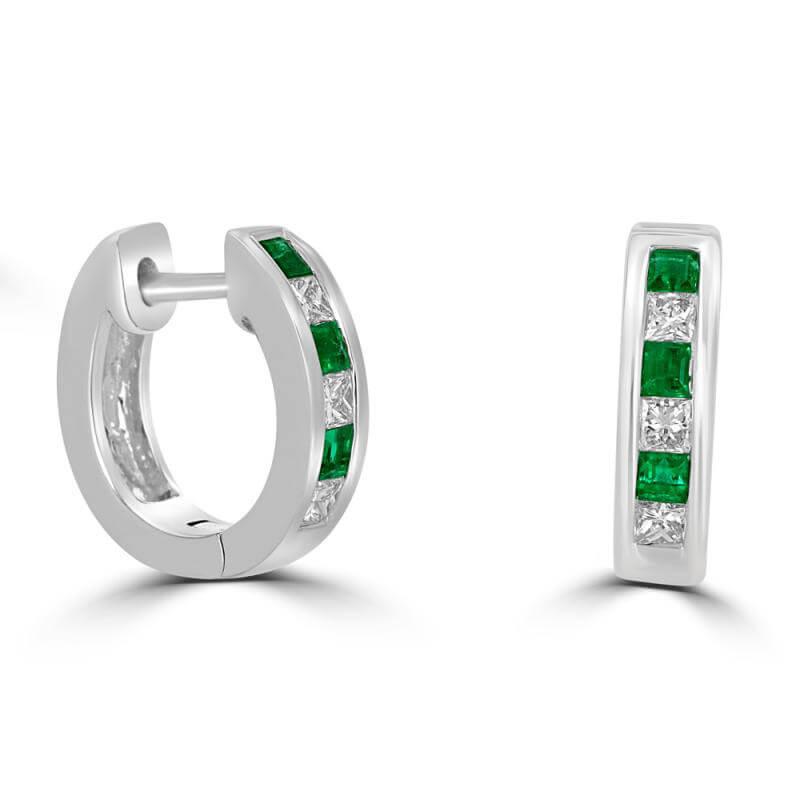 SQUARE EMERALD AND SQUARE DIAMOND HUG EARRINGS