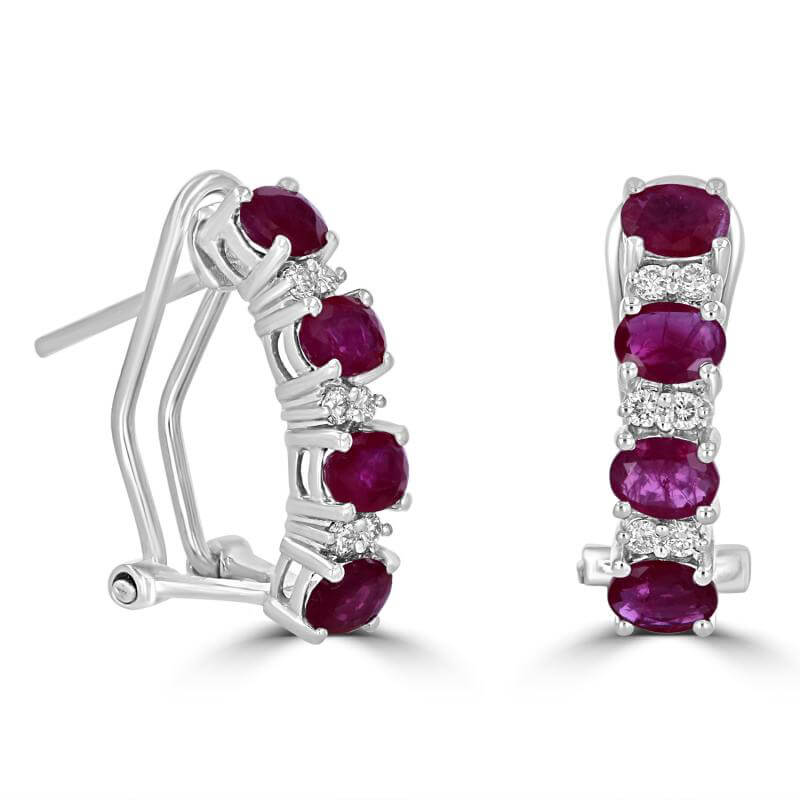 OVAL RUBY AND TWO ROUND DIAMOND EARRINGS