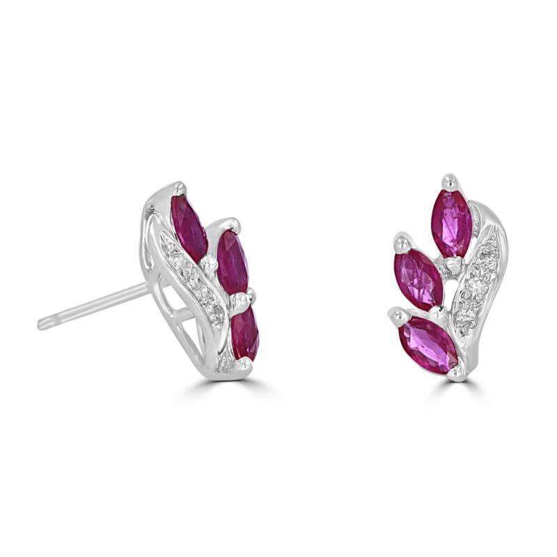 MARQUISE RUBY & ROUND DIAMOND EARRINGS