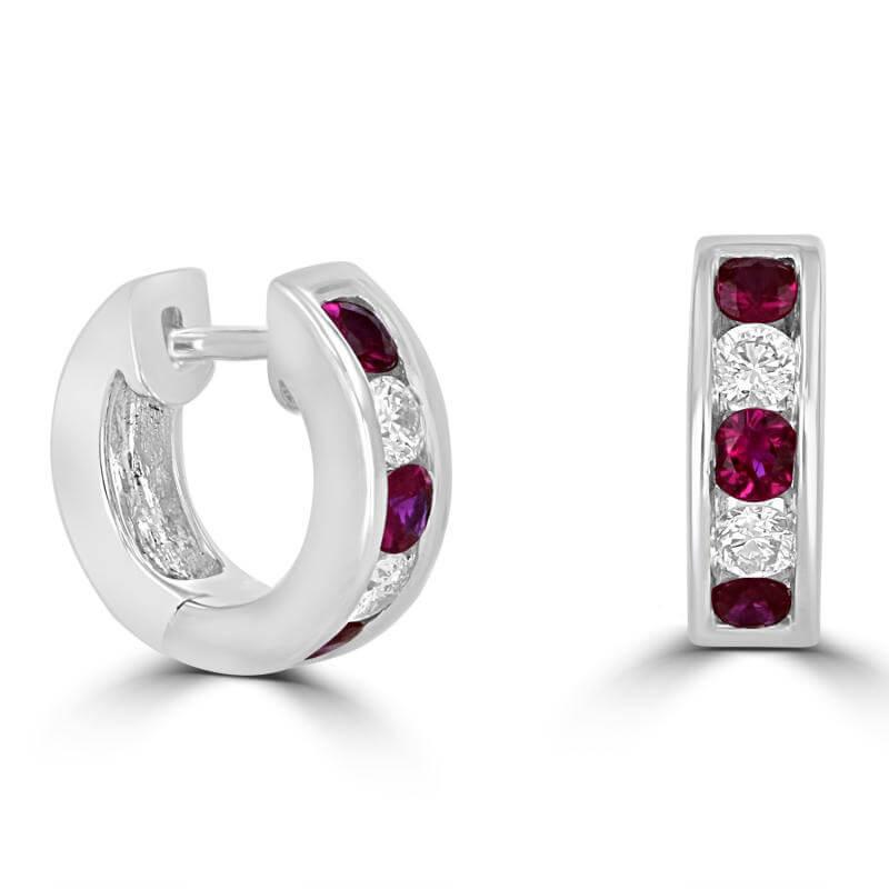 ROUND RUBY & ROUND DIAMOND HUG EARRINGS