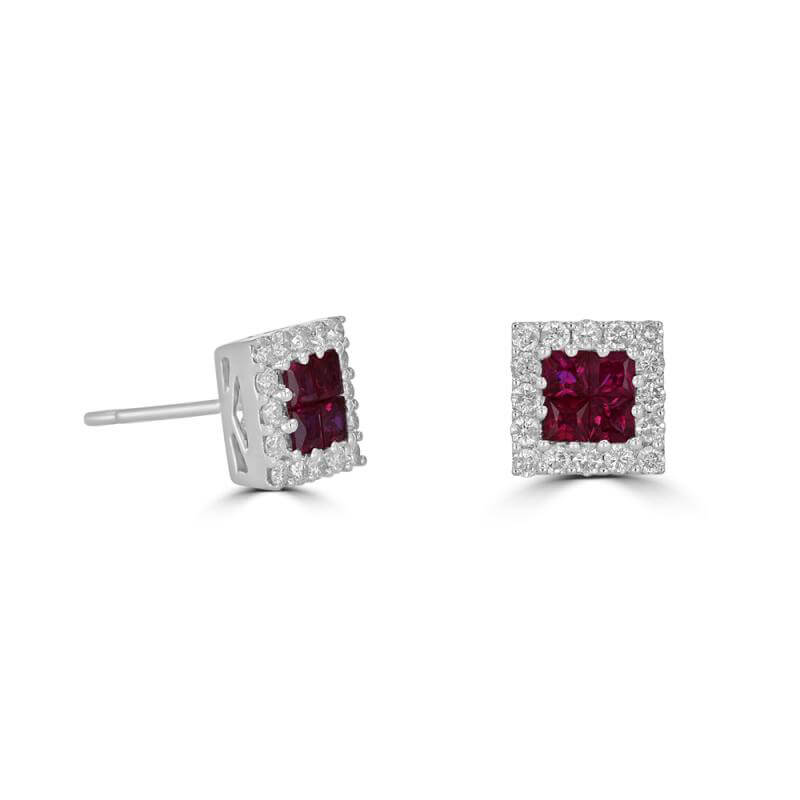 JCX391776: INVISIBLE RUBY SURROUNDED BY DIAMOND EARRINGS