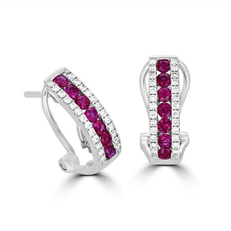 ROUND RUBY & ROUND DIAMOND EARRINGS