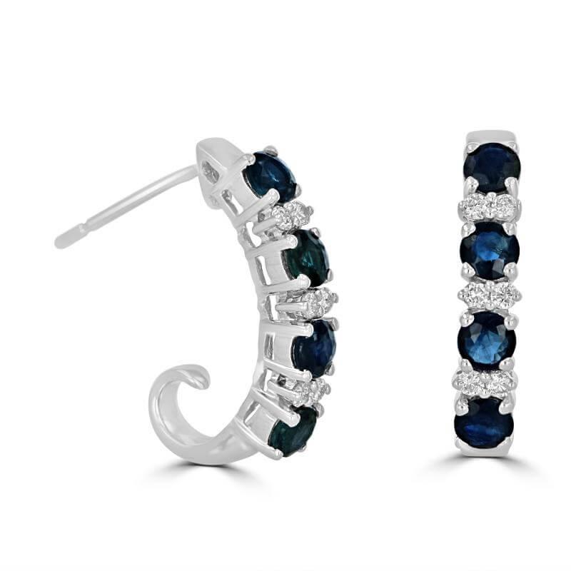 ROUND SAPPHIRE & ROUND DIAMOND J'' EARRING''