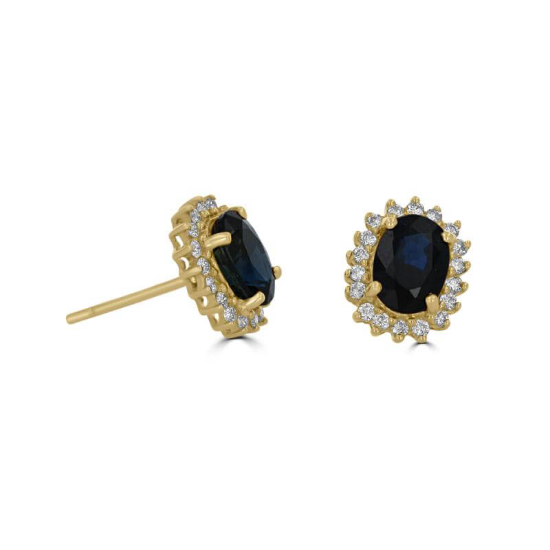 JCX391787: 5X7 OVAL SAPPHIRE SURROUNDED BY DIAMONDS EARRINGS