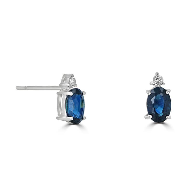4X6 OVAL SAPPHIRE & ONE DIAMOND ON TOP EARRINGS