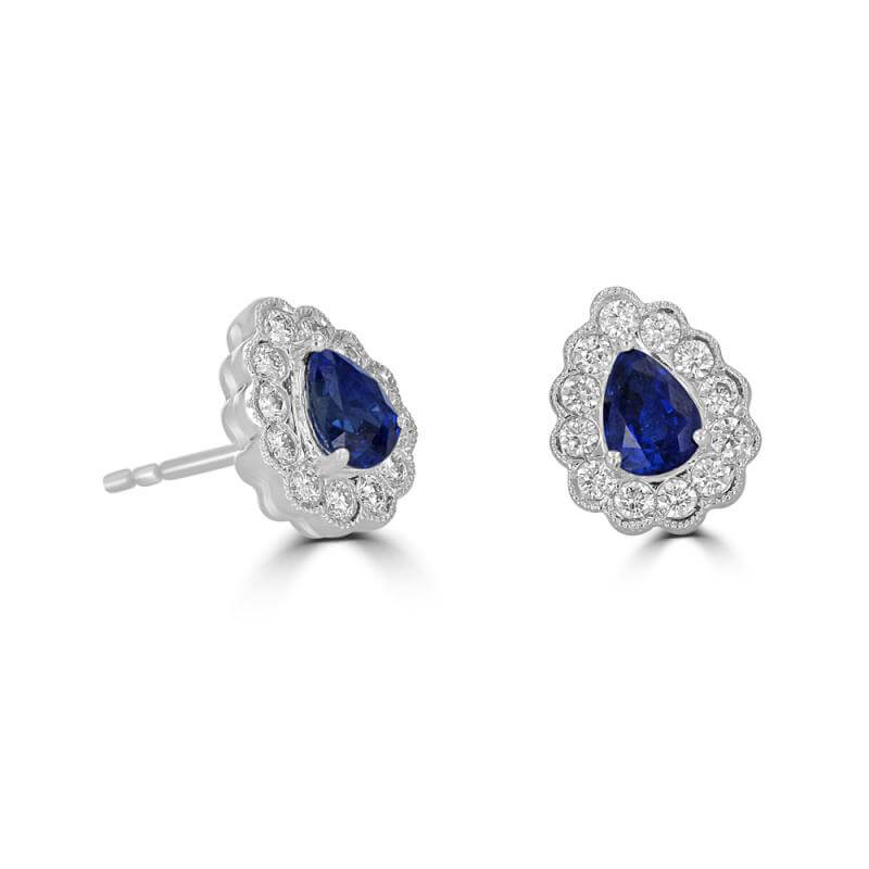 JCX391794: 4X5 PEAR SAPPHIRE SURROUNDED BY DIAMOND EARRING