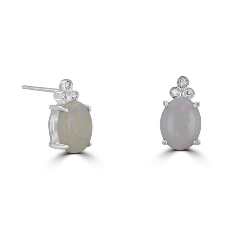 JCX391810: 7X9 OVAL OPAL & THREE DIAMONDS ON TOP  EARRINGS