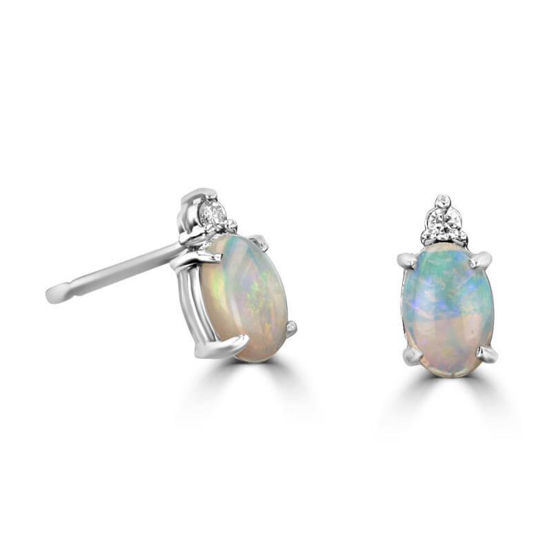 JCX391812: 4X6 OVAL OPAL AND ONE DIAMOND ON TOP EARRINGS