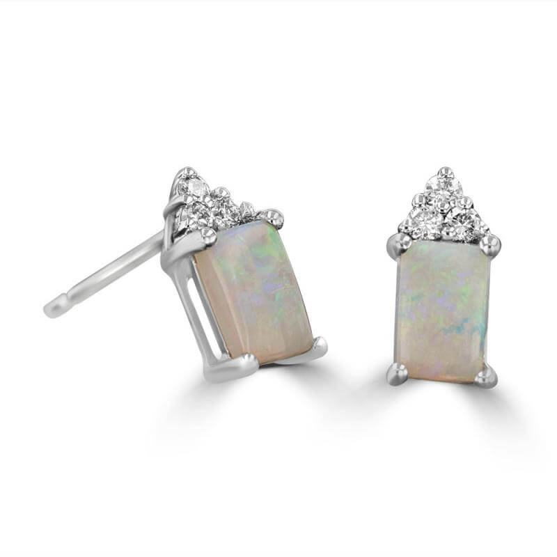 4X6 RECTANGLE OPAL & THREE DIAMONDS ON TOP EARRINGS