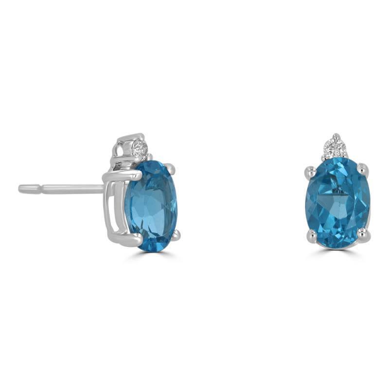 5X7 OVAL BLUE TOPAZ & ONE ON TOP DIAMOND EARRINGS