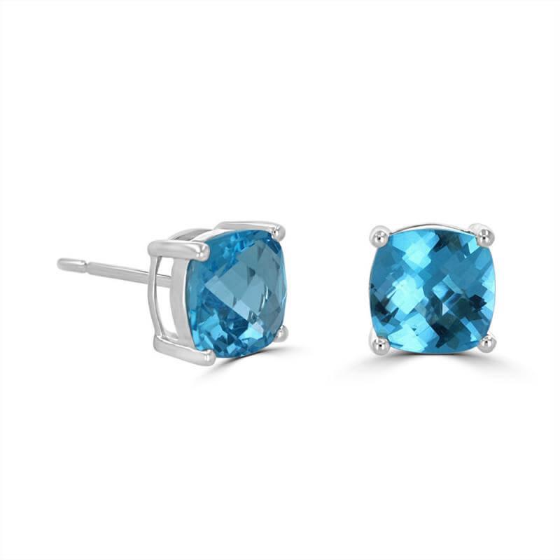 7MM CUSHION CHECKERED BLUE TOPAZ EARRINGS
