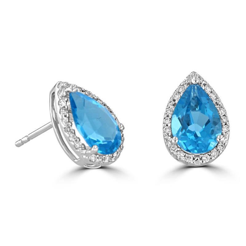 6X9 PEAR BLUE TOPAZ HALO EARRINGS