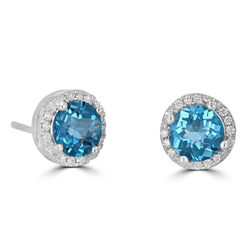 JCX391833: 6MM ROUND CHECKERED BLUE TOPAZ HALO EARRING