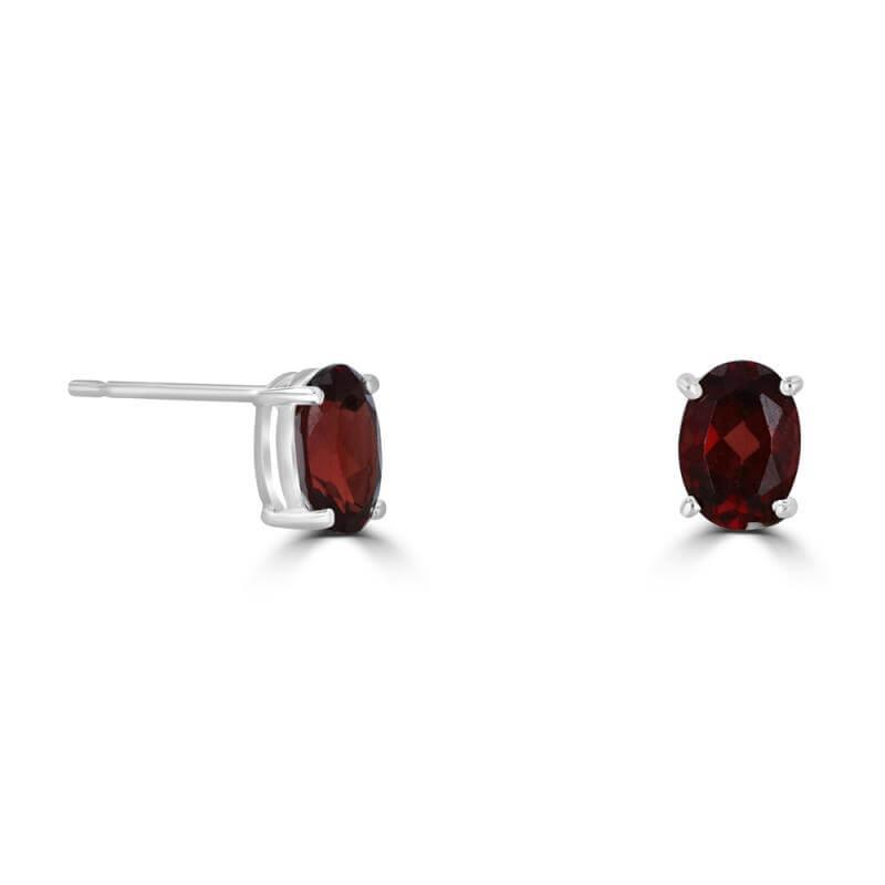 JCX391851: 5X7 OVAL GARNET PRONG EARRINGS